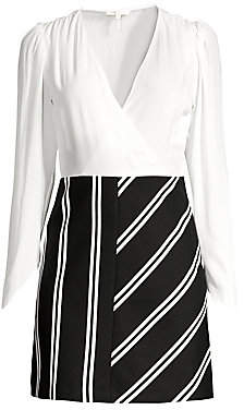 Maje Women's Solid & Stripe Faux Wrap Sheath Dress