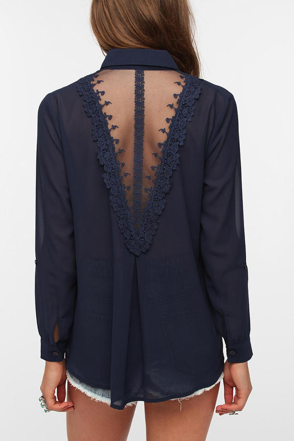 Urban Outfitters Staring at Stars Lace-Back Chiffon Blouse