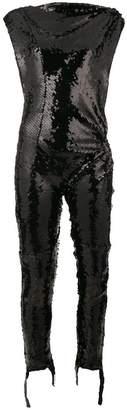 Paco Rabanne asymmetric sequinned jumpsuit