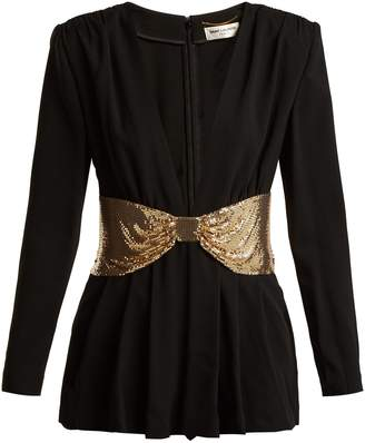 Saint Laurent Deep V-neck knot-embellished crepe playsuit