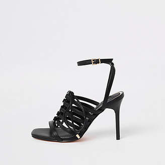 River Island Black strappy lace up heel sandals