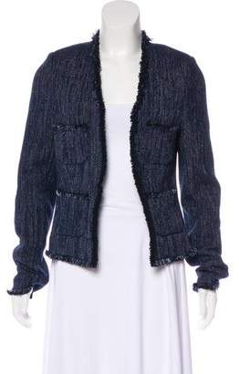 L'Agence Frayed Open-Front Jacket