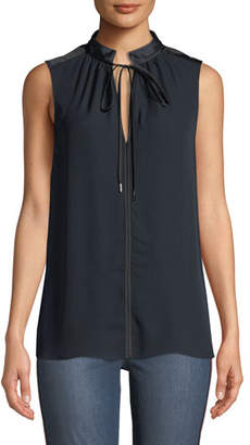 Elie Tahari Milla Tie-Neck Sleeveless Silk Blouse