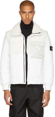 Stone Island White Leather Shearling Hybrid Jacket