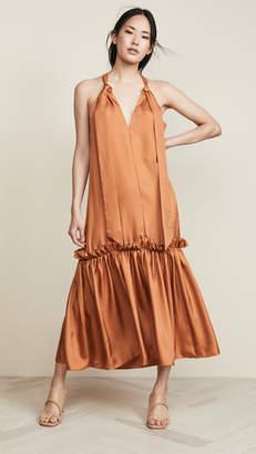 Tibi Tie Neck Long Dress