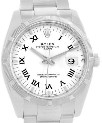 Rolex Date 115210 Stainless Steel White Roman Numeral Dial 34mm Mens Watch