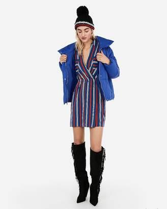 Express Surplice Striped Pocket Shirt Dress