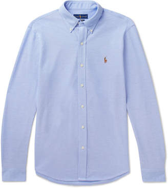 Polo Ralph Lauren Button-Down Collar Cotton-Pique Shirt - Men - Blue