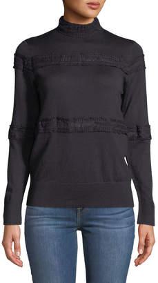 Avantlook Lace-Trimmed Mock-Neck Sweater