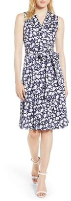 Anne Klein Floral Wrap Front Dress