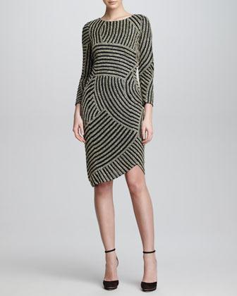 Armani Collezioni Deco Beaded Backless Dress, Black/Silver