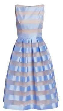 Lela Rose Women's Boatneck Full Skirt Dress - Sky - Size 14
