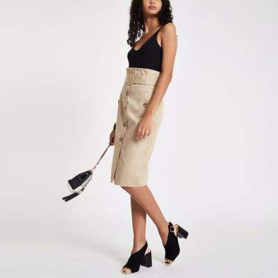 Womens Beige button front belted pencil skirt