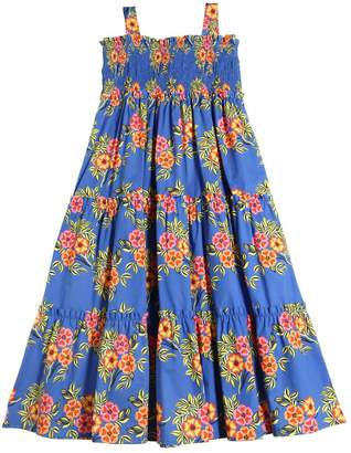 MSGM Floral Printed Cotton Poplin Long Dress