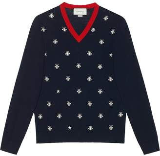 V Neck Wool Sweater With Bees And Stars