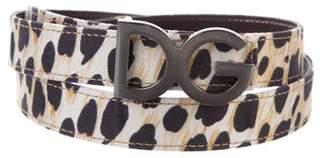 Dolce & Gabbana Logo Leopard Print Belt