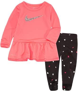 Nike Baby Girl Peplum-Hem Tunic & Confetti Leggings Set