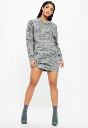 Missguided Gray Camo Print Long Sleeve Oversized Sweater Dress