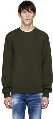 DSQUARED2 Green Wool Classic Crewneck Sweater
