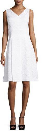 MICHAEL Michael KorsMichael Kors Sleeveless V-Neck A-Line Dress, Optic White
