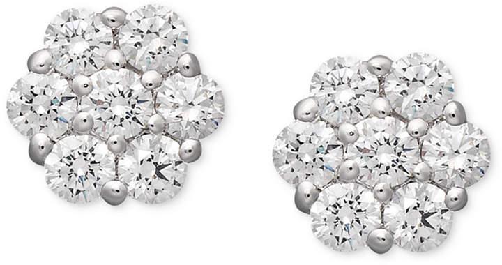 Arabella 14k White Gold Earrings, Swarovski Zirconia Cluster Stud Earrings (1-5/8 ct. t.w.)