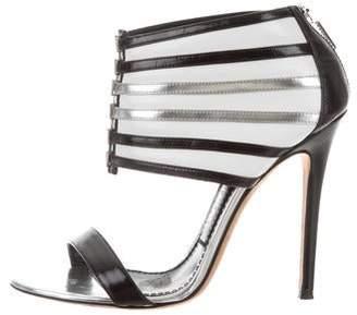 Prabal Gurung Striped Leather Sandals