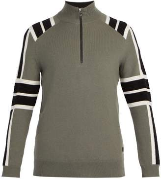 Bogner Beppo Half Zip Knit Sweater - Mens - Khaki Multi