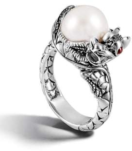 John Hardy 'Naga - Lava' Dragon & Pearl Ring