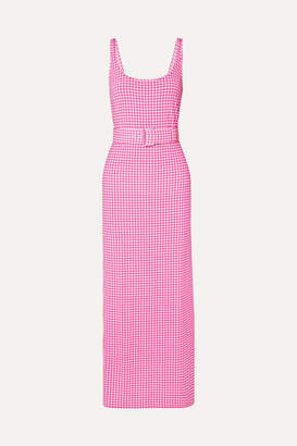 MONICA BERNADETTE Belted Gingham Stretch-jersey Midi Dress - Pink