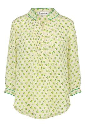 Libelula Delphine Top in Cream and Yellow Palm Tree Print