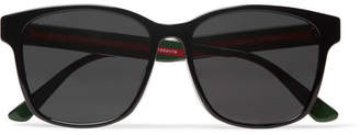 Gucci Square-frame Striped Acetate Sunglasses