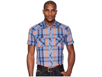 Rock and Roll Cowboy Plaid Short Sleeve Snap B1S5724
