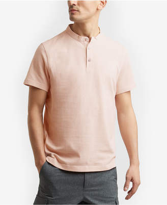 Kenneth Cole Waffle-Knit Band-Collar Henley