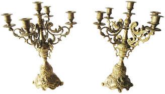 One Kings Lane Vintage Ornate Brass Four-Arm Candelabra - Set of 2 - Chateau et Jardin