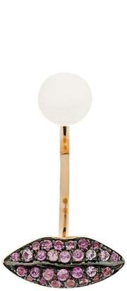 Delfina Delettrez 18kt champagne gold Lips Piercing earring