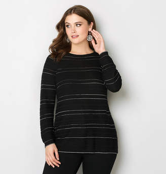 Avenue Striped Shimmer Ribbed Pullover