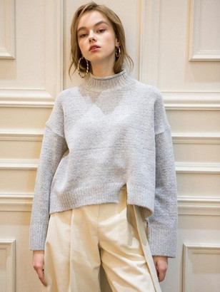 Slit Snow Knitwear Light Gray