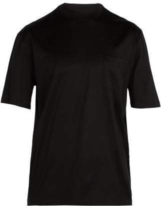 Lanvin - Logo High Neck Cotton T Shirt - Mens - Black