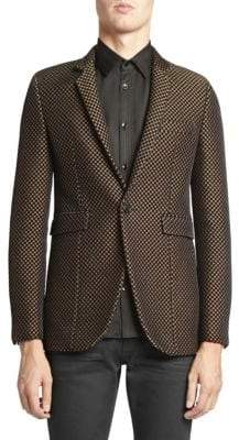 Saint Laurent Long Velvet Jacquard Sport Jacket