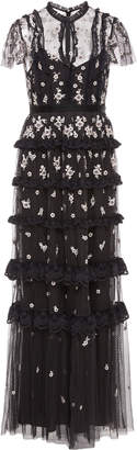 Needle & Thread Monochrome Ditsy Embroidered Tulle Gown