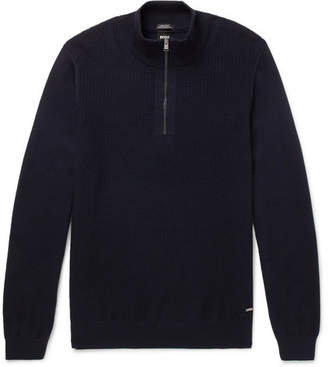 HUGO BOSS Textured-Knit Virgin Wool Half-Zip Sweater - Navy