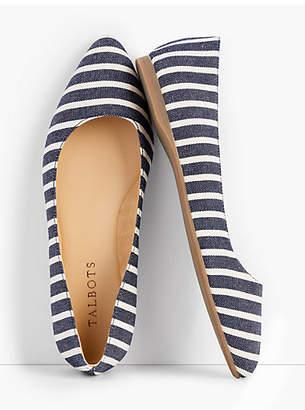 Talbots Poppy Pointed-Toe Ballet Flats - Stripe