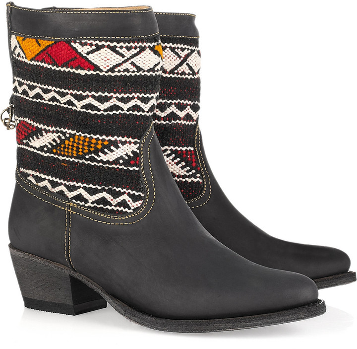 Cobra Society Hand-woven wool and brushed-leather ankle boots
