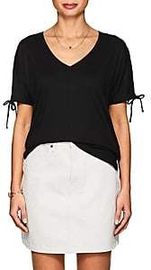 Lilla P WOMEN'S SPLIT-SLEEVE PIMA COTTON-BLEND T-SHIRT-BLACK SIZE M