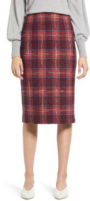 Halogen Plaid Tweed Pencil Skirt