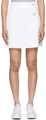 MSGM White Crystal Buttoned Miniskirt