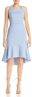 Adrianna Papell Polka-Dot Trumpet Dress