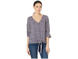 Mod-o-doc 3/4 Sleeve Tie Button Front Tee in Rayon Challis Print