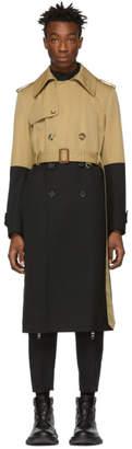 Alexander McQueen Black and Beige Hybrid Trench Coat