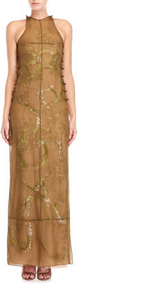 Emilio Pucci Layered Beaded Racer Neck Gown
